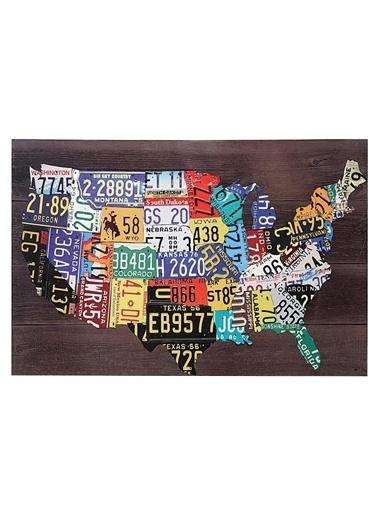 Warm Design Amerika Haritası Plakalar Duvar Dekoru Renkli
